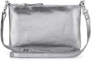COX - Metallic-Clutch in silber, Umhängetaschen für Damen