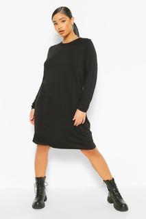 boohoo - Womens Plus Jersey Long Sleeve T-Shirt Dress - Black - 20, Black