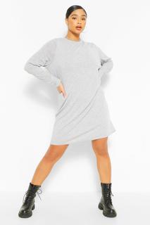 boohoo - Womens Plus T-Shirt-Kleid Aus Jersey Mit Langen Ärmeln - Grau - 50, Grau