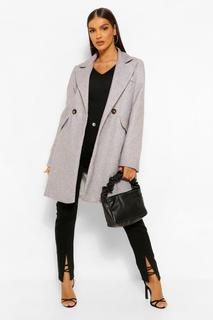 boohoo - Womens Tailored Pocket Detail Wool Look Coat - 36
