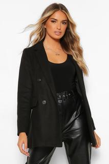 boohoo - Womens Zweireihiger Kurzer Mantel In Wolloptik - Schwarz - 36, Schwarz