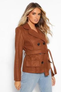 boohoo - Womens Zweireihiger Kurzer Mantel In Wolloptik - Schokoladenbraun - 36, Schokoladenbraun