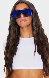 PrettyLittleThing - Blue Oversized Squareframe Sunglasses, Blue