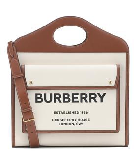Burberry - Tote Pocket Medium mit Leder
