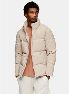 Topman - Mens Stone Padded Puffer Jacket, Stone