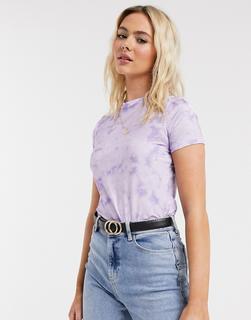 ASOS DESIGN - T-Shirt in eingelaufener Optik mit einfarbigem Batik-Design-Violett