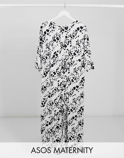 ASOS Maternity - ASOS DESIGN Maternity – Jumpsuit aus Jersey mit Taillenschnürung und Tiermuster in Weiß-Mehrfarbig