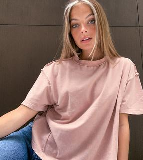 ASOS Petite - ASOS DESIGN Petite – Nerzbraunes Oversize-T-Shirt mit sichtbaren Nähten-Rosa