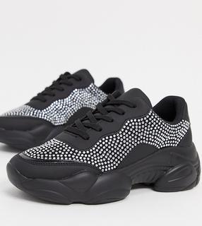 ASOS DESIGN - Destined – Schwarze Sneaker in weiter Passform mit Verzierung