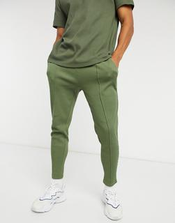 ASOS DESIGN - Elegante, enge Jogginghose in Khaki mit Biesen und Waffelstruktur, Kombiteil-Grün