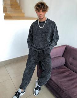 ASOS DESIGN - Oversize-Sweatshirt in verwaschenem Schwarz, Kombiteil