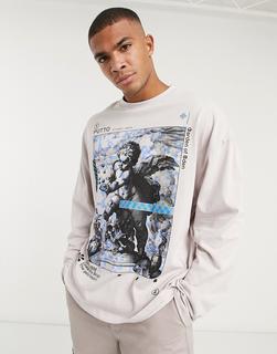 ASOS DESIGN - Oversized-T-Shirt, vorn mit Engelfoto bedruckt-Rosa
