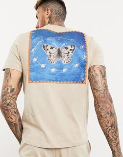 ASOS DESIGN - T-Shirt in Beige mit Stickerei und großem Schmetterling-Aufnäher am Rücken