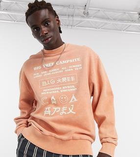 Collusion - Sweatshirt in verwaschenem Orange mit Aufdruck