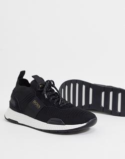 Boss - Titanium Runn – Gestrickte Sneaker mit kontrastierender Sohle in Schwarz