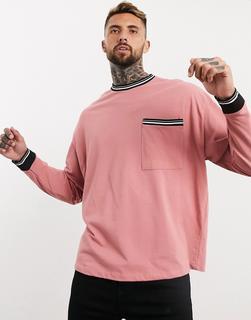 ASOS DESIGN - Langärmliges Pikee-T-Shirt in Oversize-Passform mit Zierstreifen und Tasche in Rosa