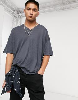 ASOS DESIGN - Besonders lang geschnittenes Oversized-T-Shirt mit extrem abgerundetem Saum und Struktur in Grau-Schwarz