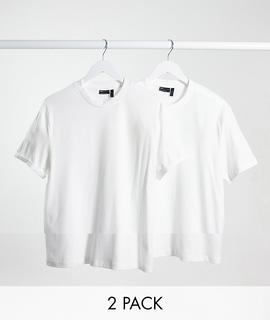 ASOS DESIGN - 2er-Set T-Shirts aus Bio-Baumwolle, Rabatt-Mehrfarbig