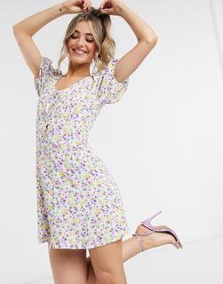 Miss Selfridge - Mini-Freizeitkleid mit mehrfarbigem Aquarellmuster