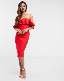 Vesper - Schulterfreies, mittellanges Bodycon-Kleid in Rot