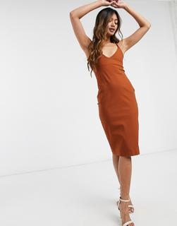 Vesper - Mittellanges Bodyconkleid in Orange