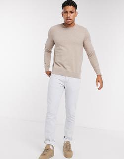 Burton Menswear - Pullover in Stone mit Rundhalsausschnitt-Beige