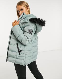 Brave Soul - Arna – Wattierter Mantel mit Kunstpelzbesatz an der Kapuze-Blau