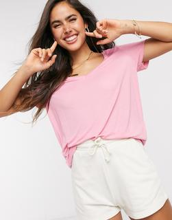 Vero Moda - T-Shirt mit V-Ausschnitt inRosa