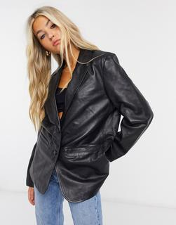 Muubaa - Kastiger Oversize-Blazer aus schwarzem Leder