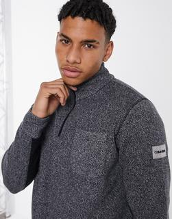 Calvin Klein - Heather – Gerippter Pullover in Grau mit Stehkragen und 1/2-Reißverschluss