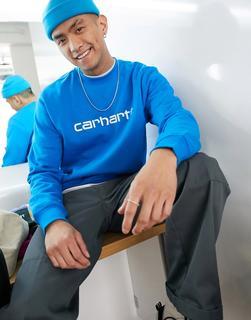 Carhartt WIP - Sweatshirt mit Logo in Azurblau und Weiß