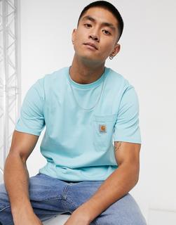 Carhartt WIP - Kurzärmliges T-Shirt mit Tasche in Window-Blau