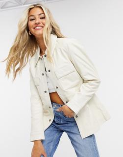 Muubaa - Hemdjacke aus cremeweißem Leder mit Tasche vorne