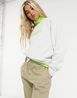 Carhartt WIP - Sweatshirt mit Logo in Asche meliert & Limette-Grau