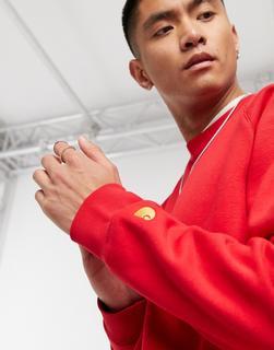 Carhartt WIP - Chase – Sweatshirt in Ätna-Rot und Gold