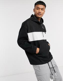Bershka - Jeans-Windjacke mit Kapuze in Schwarz mit Streifen