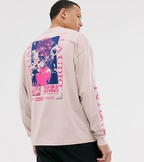 ASOS DESIGN - Tall – Langärmliges Oversize-Shirt mit Blumenmuster vorne und hinten-Weiß
