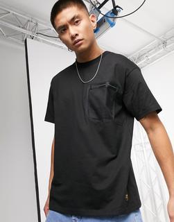 Carhartt WIP - Kurzärmliges Military-T-Shirt mit Tasche aus Netzstoff in Schwarz