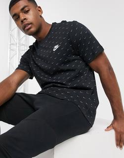 Nike - T-Shirt mit kleinem Logo in Schwarz und Grau