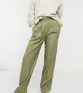 Topshop - Tall – Melierte Hose in Khaki mit weitem Beinschnitt und Stretch-Rückseite-Grün