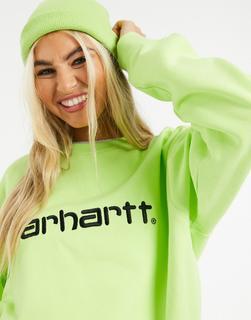 Carhartt WIP - Sweatshirt mit Logo in Limette & Schwarz-Grün