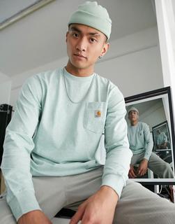 Carhartt WIP - Langärmliges Shirt mit Tasche in Zola-Heidegrün-Grau