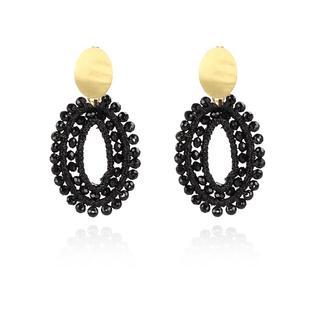 LOTT.gioielli - Ohrringe - CE Silk oval open Double Stones XS *000 Black #05  Gold - in schwarz - für Damen
