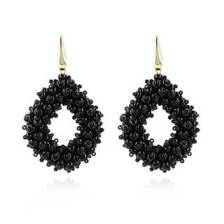 LOTT.gioielli - Ohrringe - CE Glasberry Ace Double Stones L *000 Black #01  Gold - in schwarz - für Damen