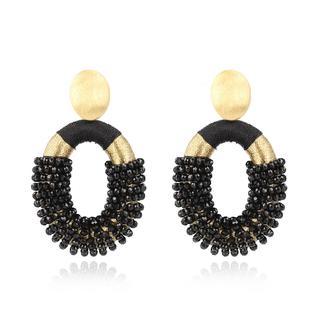 LOTT.gioielli - Ohrringe - CE Glasberry Silk Combi Oval *000 Black Gold #72  Gold - in schwarz - für Damen