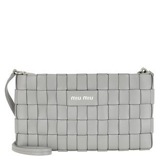 Miu Miu - Umhängetasche - Woven Clutch Leather Nube - in grau - für Damen