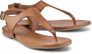 COX - Leder-Zehentrenner in beige, Sandalen für Damen