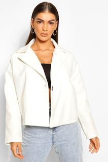 boohoo - Womens Kurzer Mantel In Übergröße In Wolloptik - Elfenbeinfarben - 34, Elfenbeinfarben