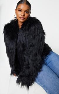 PrettyLittleThing - Plus Liddie Black Faux Fur Shaggy Cropped Jacket, Black