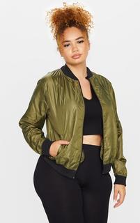 PrettyLittleThing - Plus Khaki Lightweight Bomber Jacket, Green